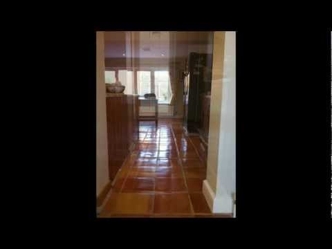 Terracotta clay tile floor cleaning and sealing Surrey.wmv