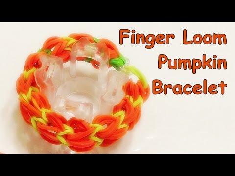 Finger Loom Pumpkin Bracelet made with Loom bands (Rainbow Loom Bracelet, Halloween)