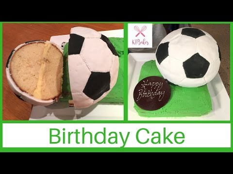 How to make a Soccer Ball Cake (Football Cake, Fußball-Torte) | Kids Cooking | KTBakes