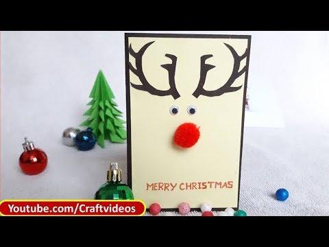Simple Christmas Card For Kids| Easy Christmas Card Ideas | Reindeer Christmas Card