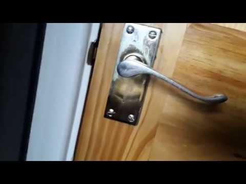 How to emergency exit a room with a broken door handle. Tool & Macgyver style methods