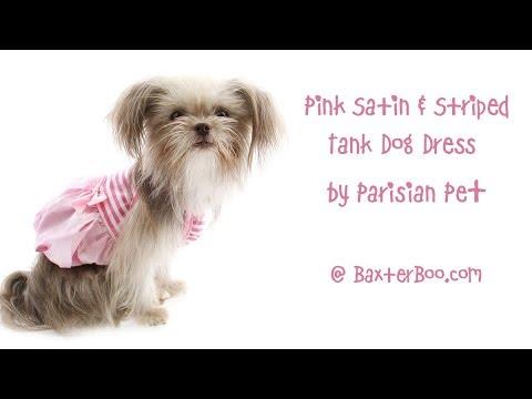 Pink Satin and Striped Tank Dog Dress by Parisian Pet