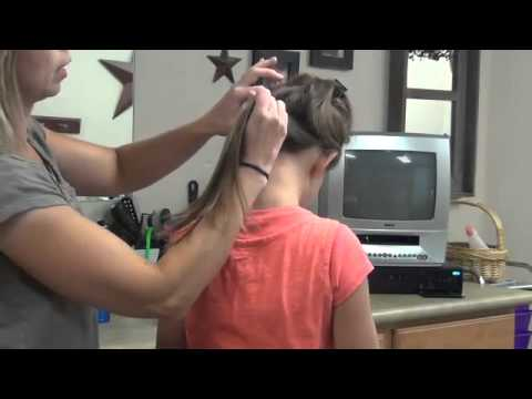 Triple Over Under Into a High Messy Bun Girls Hairstyle
