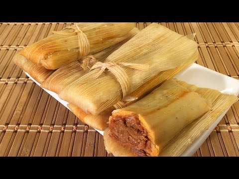 How To Make Tamales, Mexican Food Recipes Chicken Pork Cheese Dough Masa Sauce Spreader