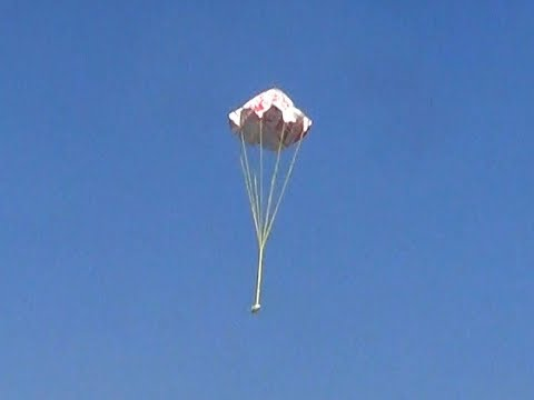 Paper parachute that opens up on the air, fly and land