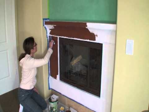 Fireplace Remodel Ideas Using Venetian Plaster And High Temp Stove Paint