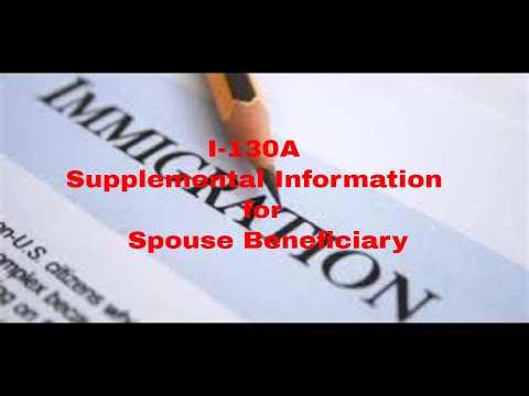 Filipina I-130 Spousal Visa Process Part-6 - I -130A Supplemental Information