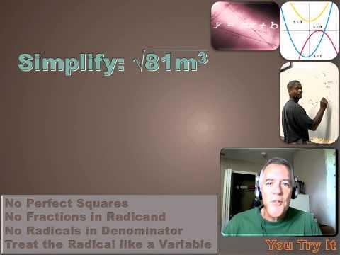 Algebra 1 - Simplifying Radical Expressions
