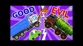Good Vs Evil - Garbage Truck For Kids - Train, Ambulance, Dump Truck, Loader, Ice Cream Van