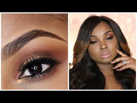 Full Face Make up tutorial - Bronze smoky eye -neutral/nude lips