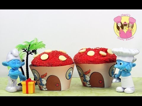 MAKE SMURF CUPCAKES!  Make easy smurfs house cupcakes using our free printables!