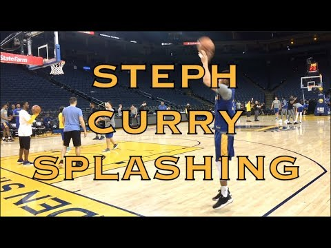 Steph Curry splashing after practice at Oracle Arena, day before 2018 NBA Finals