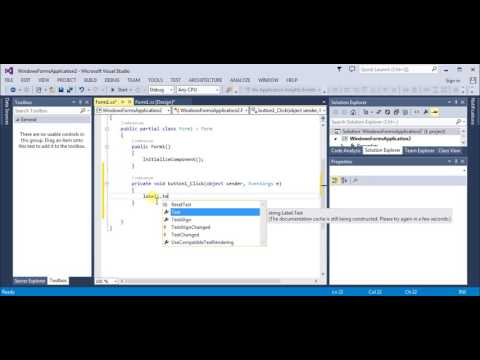 Visual Studio beginners guide (change label text) after button click C#