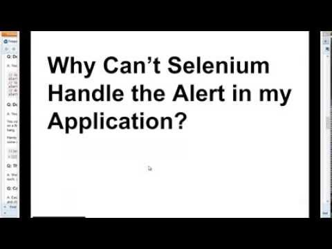 Why Does Selenium Not Handle Alerts?