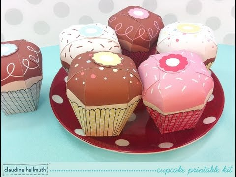 make a paper cupcake party favor & gift boxes - printable kit