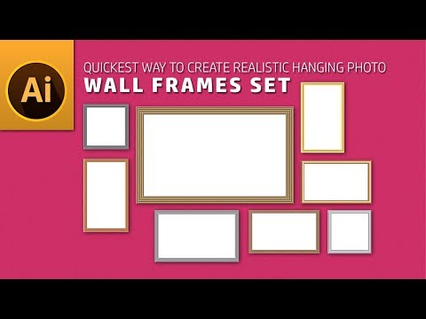 Illustrator Tutorial | Quickest Way to Create Realistic Hanging Photo Wall Frames Set