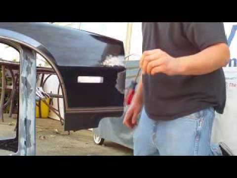 How to hammer and dollie out dents,apply bondo,and sand bondo part 1