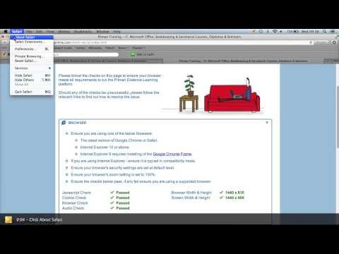 Checking version of Safari