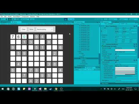 Sudoku Backtracking Algorithm in Unity3D