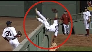 MLB Players Flipping Over Wall (HD)
