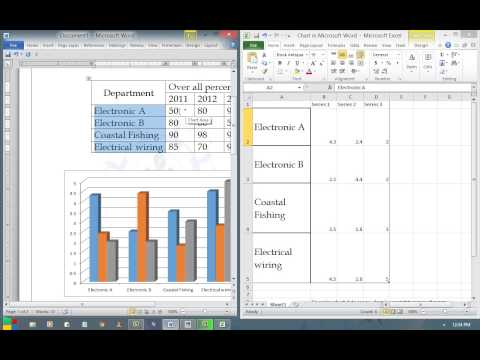 How to insert a column chart using Microsoft word 2010