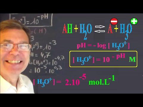Calculer la concentration molaire en ions H3O+, oxonium, hydronium