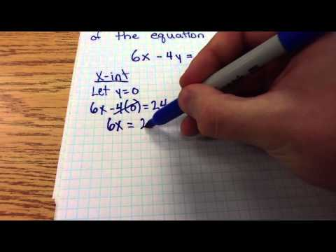 Finding the x and y intercepts of a standard form linear equation