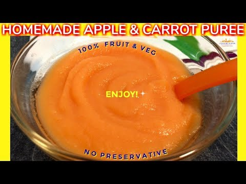How to Make Apple and Carrot Puree | Homemade Baby Food | Starting from 6 months | Yummieliciouz