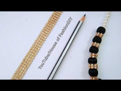 How To Make Silk Thread Necklace||Stone Line Necklace At Home..!