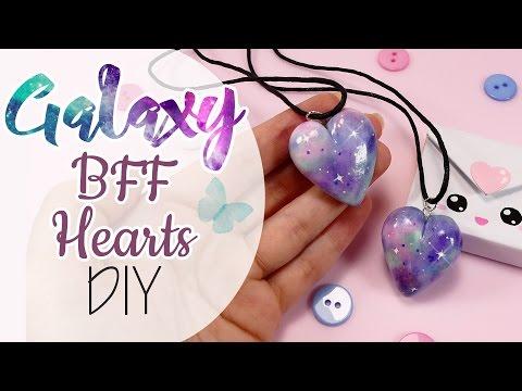 Galaxy Hearts Polymer Clay - FIMO Cuori effetto Galaxy