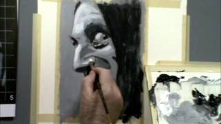 Larry Kitchen Painting Black and White Portrait
