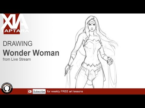 Drawing Wonder Woman tutorial from LIVE stream 129