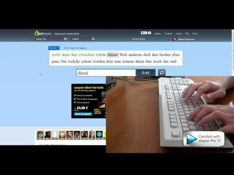 10 Fast Fingers typing test - German 172 WPM [w/ keyboard]