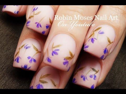 Falling Lavender Flowers | DIY Easy Beginner Nail Art Design Tutorial