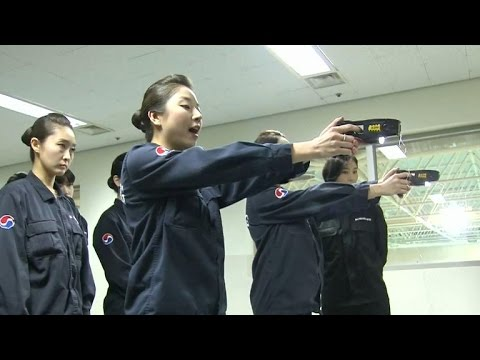 Korean Air Lines crews get trained with stun guns