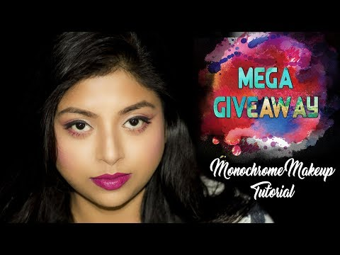 Monthly Giveaway | Easy Pink Monochrome Makeup Look | How To Do Easy Makeup | Indian Makeup
