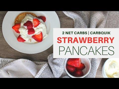 CARBQUIK PANCAKES   STRAWBERRY   2 NET CARBS PER PANCAKE   #ketogenicdiet   #carbquik   #lchf