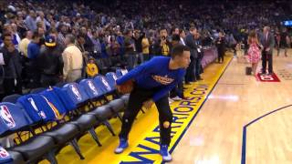 KD Calls No Catch on Clark to Curry TD | Pre-game Warmups | 12.01.16
