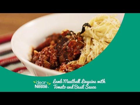 Lamb Meatball Linguine with Tomato & Basil Sauce