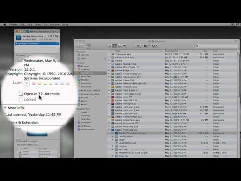 Switching Photoshop CS5 64 bit to 32 bit on a Mac