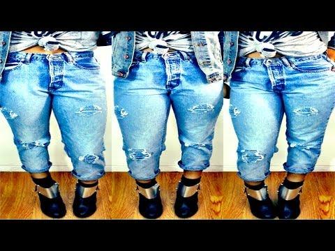 DIY Distressed High-Waisted Jeans #DIYGawd