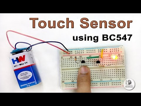 How to make a Touch Sensor using BC547 transistor on Breadboard