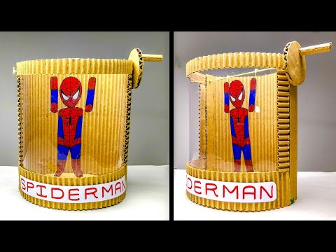 How To Make Spider-Man Pull-up Toy From Cardboard || DIY Toy For Kids