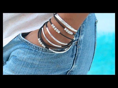 How to Make a Boho Leather Tube Bangle Wrap Bracelet - Step by Step DIY Tutorial - # 769