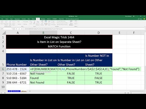 Excel Magic Trick 1464: Is Item In List? Formula to Check if Item is in a List on Separate Sheet.