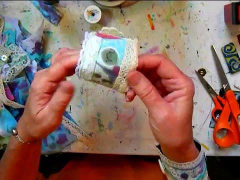 Mixed media fabric art cuff