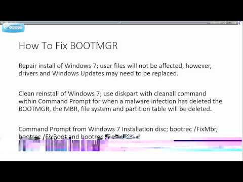 Windows 7   How To Fix A Corrupted/Missing BOOTMGR   Tutorial
