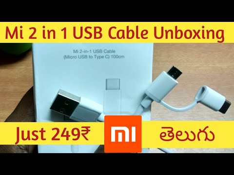 Mi 2-In-1 USB Cable - Micro USB to Type C Unboxing || in telugu ||