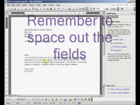 How to Mail Merge in Word 2003