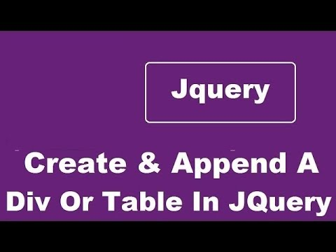 Create And Append Div or Table Using Jquery - Any Form Element